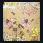 "Mushrooms Neutral Brown Turtle Animal Children Art Bandana<br><div class=""desc"">Mushrooms Neutral Brown Turtle Animal Children Art</div>"