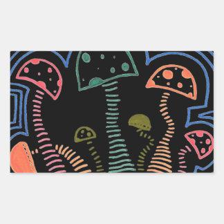 Mushrooms On A Hill Rectangular Sticker