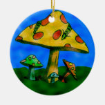 Mushrooms Double-Sided Ceramic Round Christmas Ornament