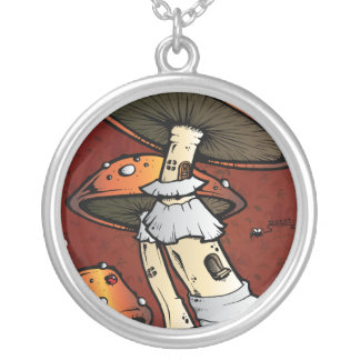 Mushrooms Silver Plated Necklace