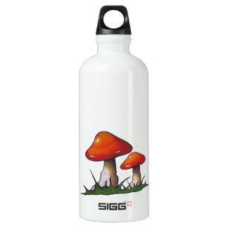 Mushrooms, Toadstools: Freehand Marker Art Aluminum Water Bottle