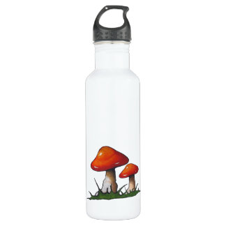 Mushrooms, Toadstools: Freehand Marker Art Water Bottle