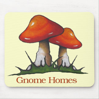 Mushrooms, Toadstools: Gnome Homes: Freehand Art Mouse Pad