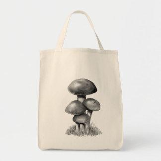 Mushrooms, Toadstools: Original Pencil Drawing Tote Bag