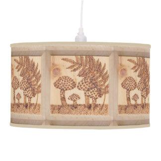 Mushrooms Woodburned Prim Rustic Woodland Hanging Pendant Lamp