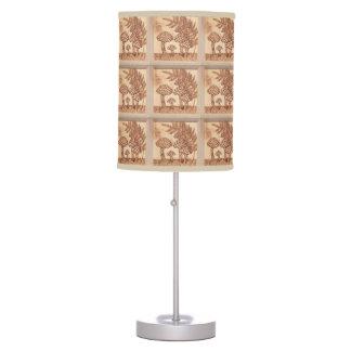 Mushrooms Woodburned Prim Rustic Woodland Table Lamp