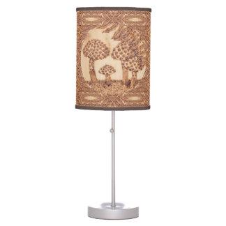 Mushrooms Woodburned Prim Rustic Woodland Desk Lamp