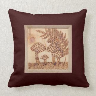 Mushrooms Woodburned Prim Rustic Woodland Pillow
