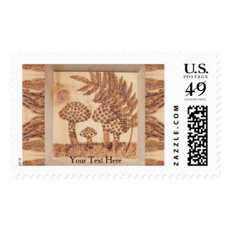 Mushrooms Woodburned Prim Rustic Woodland Postage Stamps