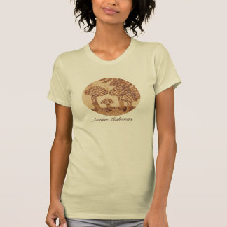 Mushrooms Woodburned Prim Rustic Woodland T-Shirt