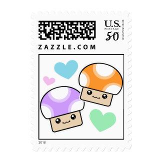 Mushy Puffs In Love Kawaii Mushrooms Postage