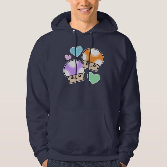 Mushy Puffs In Love Orange Purple Kawaii Mushrooms Hoodie