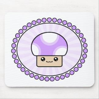 Mushy Puffs Kawaii Mushroom Purple Mouse Pad