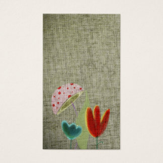 Mushy textured shadow flowers grungy light canvas business card