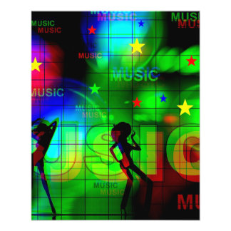 music-163256 BRIGHT NEON LIGHTS COLORS MUSIC DANCI Personalized Flyer