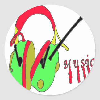 MUSIC 1 PNG COUGHS UP ROUND STICKERS