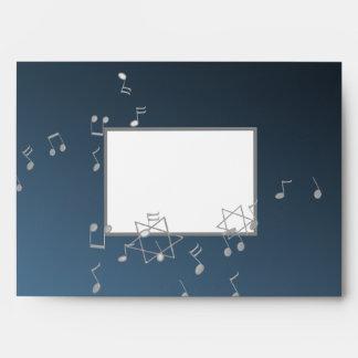 Music 5x7 Silver Blue Bar Mitzvah Envelope