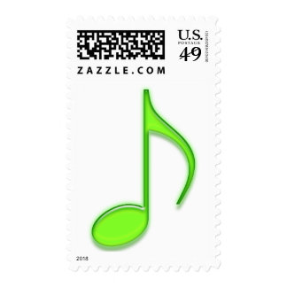 Music 8th Note Lime bright green Stamp
