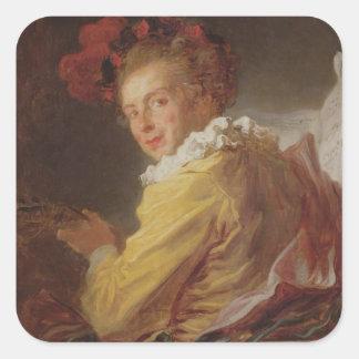 Music, a portrait of Monsieur de la Breteche Square Sticker