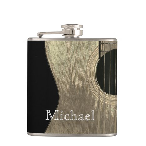 Music Acoustic Guitar Monogram Black and Beige Flask