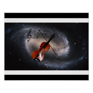 Music Across The Universe ~Spiral Galaxy ~Violin ~ Poster