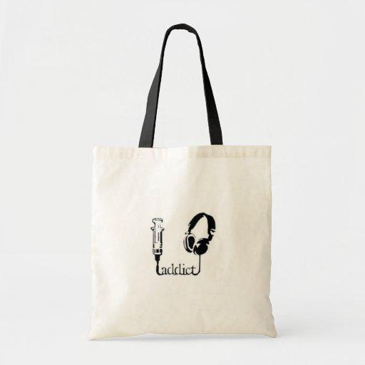 music addict tote bag