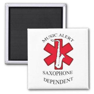 Music Alert Saxophone 2 Inch Square Magnet