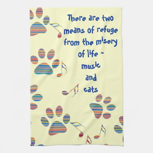 Kitchen Tea Quotes For Cards: Music And Cats Quote Tea Towel