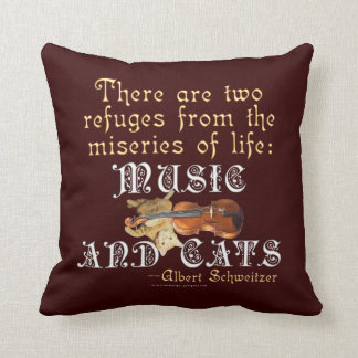 Music and Cats Throw Pillow