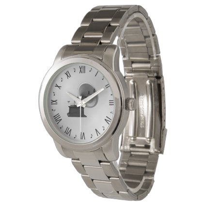 Music and Gramophone Silver Watch
