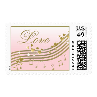 Music and Hearts Love Postage