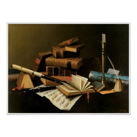 Music and Literature, 1878 William Harnett Poster