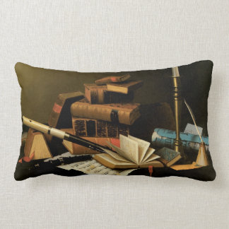 Music and Literature by William Harnett, Fine Art Lumbar Pillow