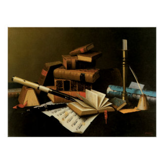Music and Literature by William Harnett Poster