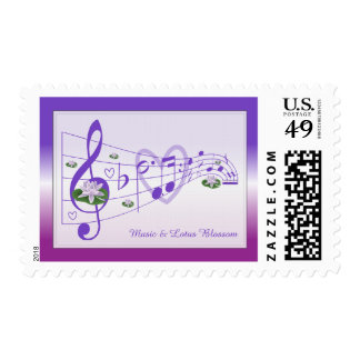 Music and Lotus Blossoms Postage Stamp