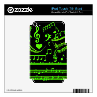 Music and me,In Green_ Skins For iPod Touch 4G