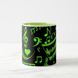 Music and me,In Green_ Two-Tone Coffee Mug