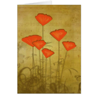 Music and Poppies Card