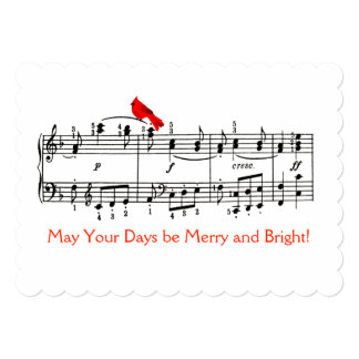 Music and Red Bird Christmas Card