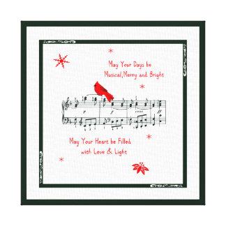 Music and Red Cardinal Bird Canvas Print