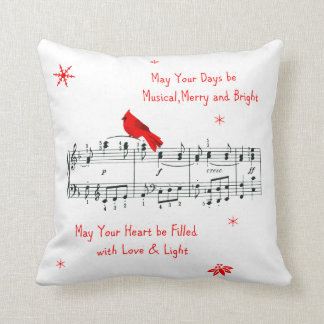 Music and Red Cardinal Bird Christmas Pillow