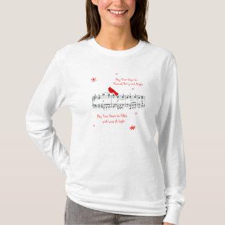 Music and Red Cardinal Bird Christmas Shirt