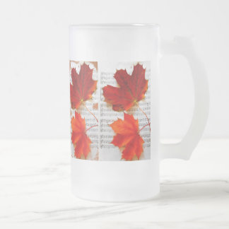 Music and Red Leaf Frosted Glass Beer Mug