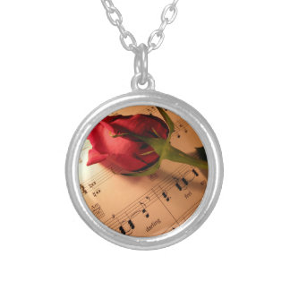 Music and Roses Round Pendant Necklace
