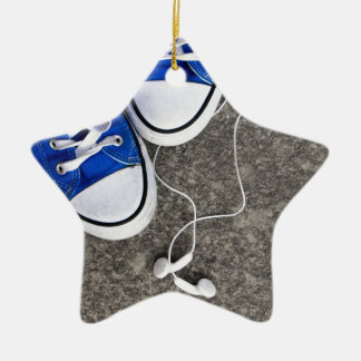 Music and sneakers ceramic ornament