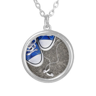 Music and sneakers silver plated necklace