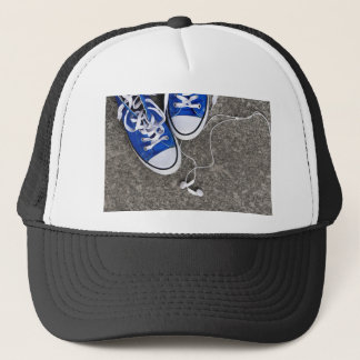Music and sneakers trucker hat