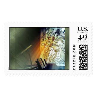 Music and Stained Glass Postage Stamps