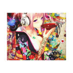 Music Anime Girl Stretched Canvas Print