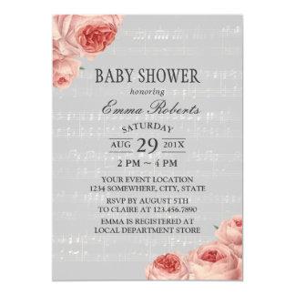 Music Baby Shower Elegant Floral Card